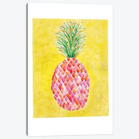 Pineapple Yellow Canvas Print #SBE52} by Sara Berrenson Canvas Artwork