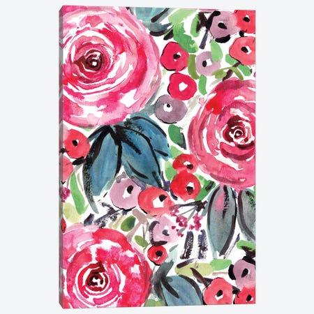 Pink Roses Canvas Print #SBE55} by Sara Berrenson Art Print