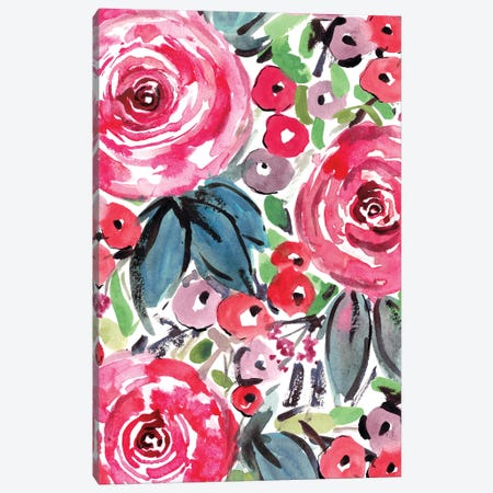Pink Roses Canvas Print #SBE55} by Sara Berrenson Art Print