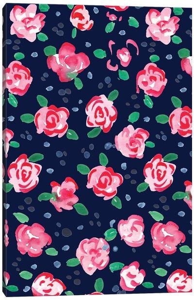 Roses Navy  Canvas Art Print