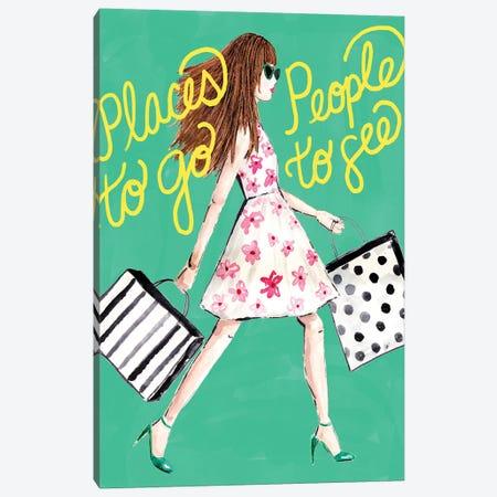 Shopping Girl Canvas Print #SBE66} by Sara Berrenson Canvas Wall Art
