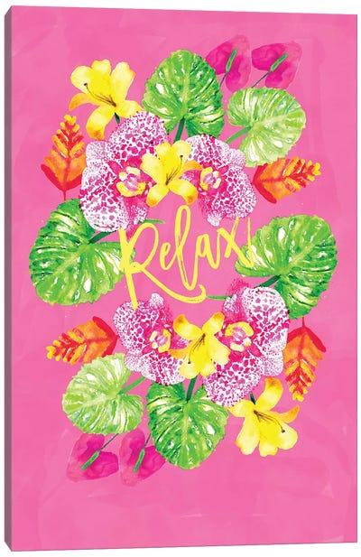 Tropic Vibes Floral Wreath Canvas Art Print