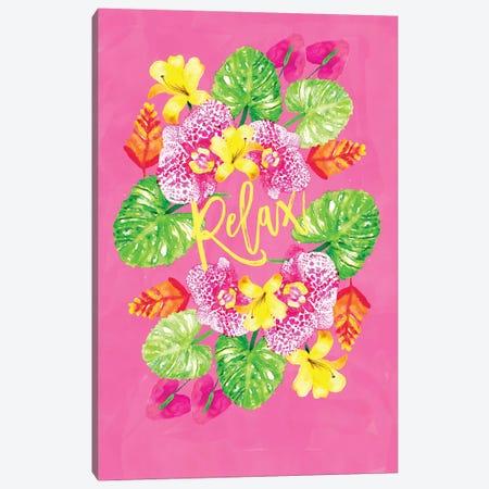 Tropic Vibes Floral Wreath Canvas Print #SBE68} by Sara Berrenson Canvas Print