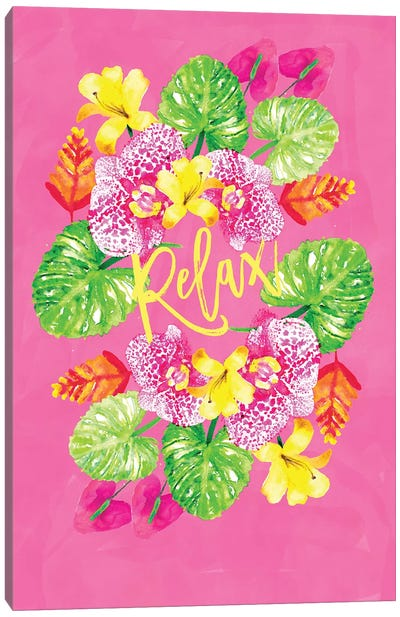 Tropic Vibes Floral Wreath Canvas Art Print