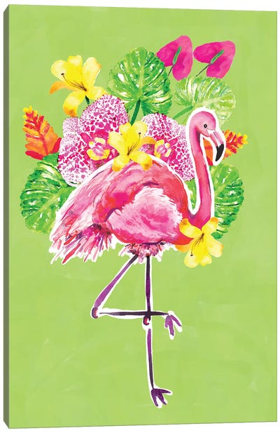 Tropic Vibes Flamingo Canvas Art Print