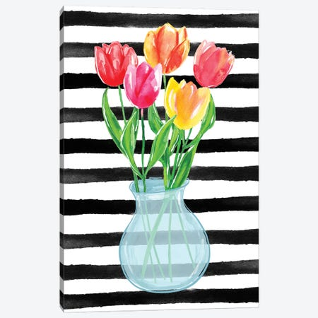 Tulips Stripes Canvas Print #SBE71} by Sara Berrenson Canvas Artwork
