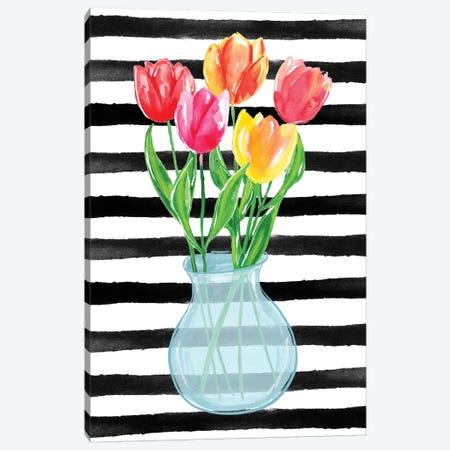 Tulips Stripes Canvas Print #SBE71} by Sara Berrenson Canvas Artwork