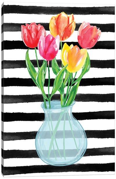 Tulips Stripes Canvas Art Print