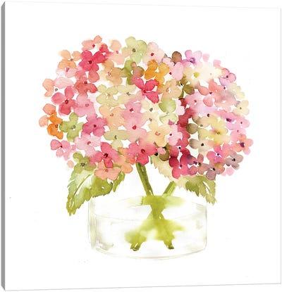 Hydrangea Pink Vase Canvas Art Print
