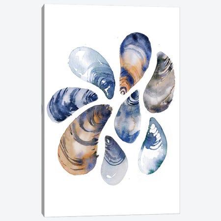 Indigo Mussels Canvas Print #SBE87} by Sara Berrenson Canvas Wall Art