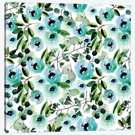 Blue Peony Canvas Print #SBE8} by Sara Berrenson Canvas Art Print