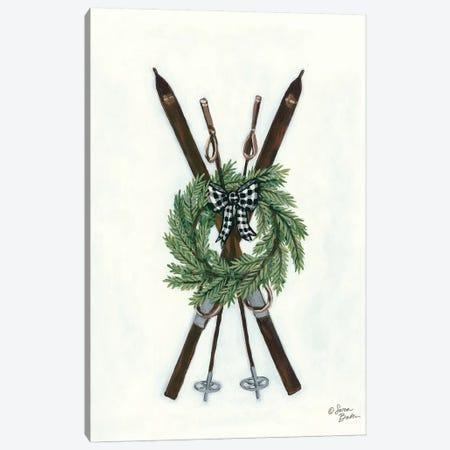Vintage Winter Skis Canvas Print #SBK12} by Sara Baker Canvas Artwork