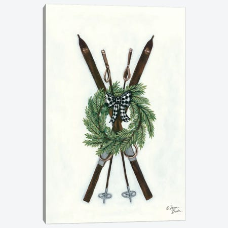 Vintage Winter Skis Canvas Print #SBK12} by Sara Baker Canvas Artwork