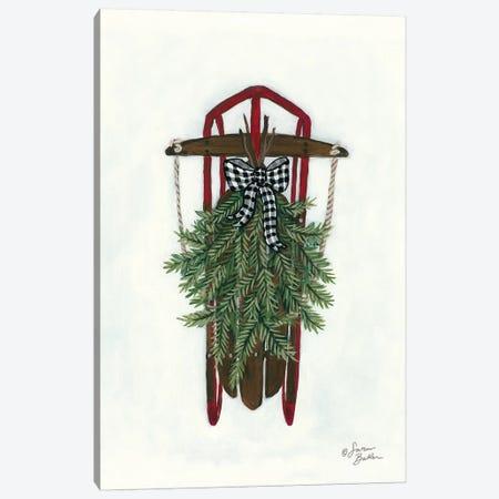 Vintage Winter Sled Canvas Print #SBK13} by Sara Baker Canvas Art