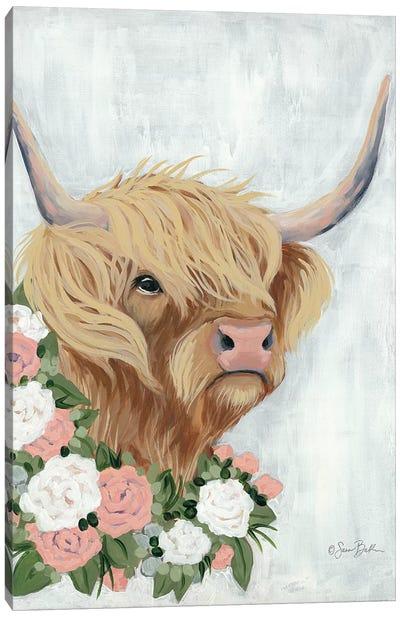 Floral Highlander Cow Canvas Art Print