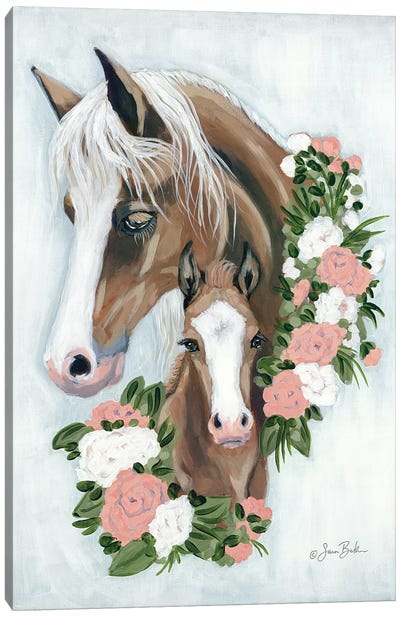 Floral Ponies Canvas Art Print