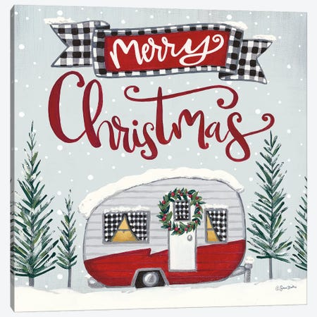 Merry Christmas Camper Canvas Print #SBK18} by Sara Baker Canvas Wall Art