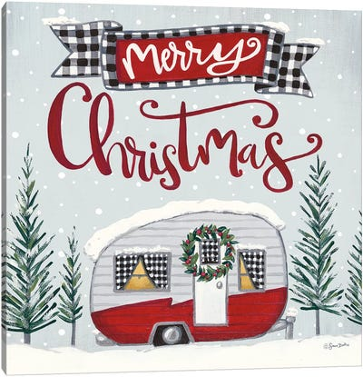 Merry Christmas Camper Canvas Art Print