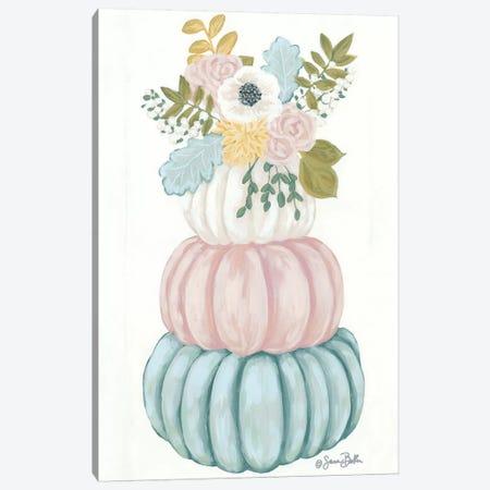 Floral Pumpkins Canvas Print #SBK19} by Sara Baker Canvas Art