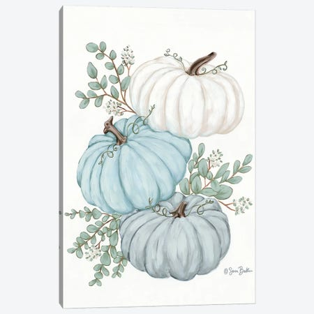 Pumpkin Trio Canvas Print #SBK20} by Sara Baker Canvas Print