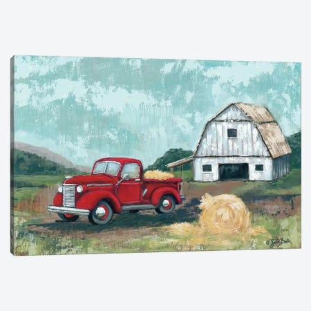 Red Truck at the Barn Canvas Print #SBK21} by Sara Baker Canvas Art Print