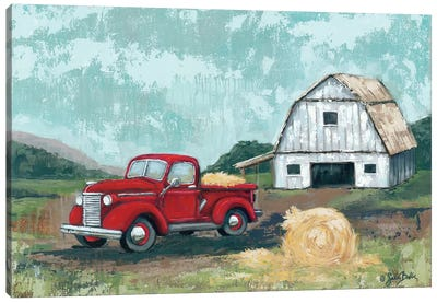 Red Truck at the Barn Canvas Art Print