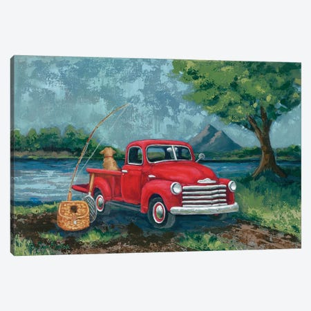 Red Truck Fishing Buddy Canvas Print #SBK22} by Sara Baker Canvas Print