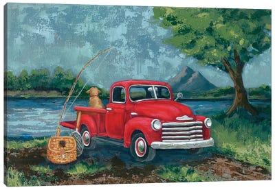 Red Truck Fishing Buddy Canvas Art Print