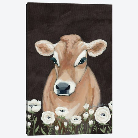 Cow With Flowers     Canvas Print #SBK24} by Sara Baker Canvas Artwork