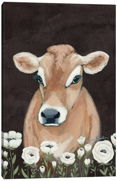 Cow With Flowers     Canvas Art Print
