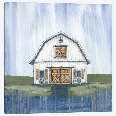 White Garden Barn Canvas Print #SBK28} by Sara Baker Art Print