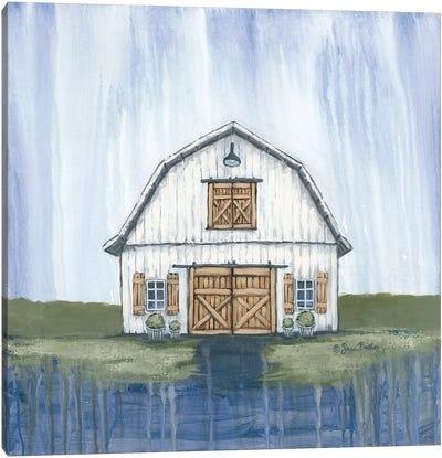 White Garden Barn Canvas Art Print