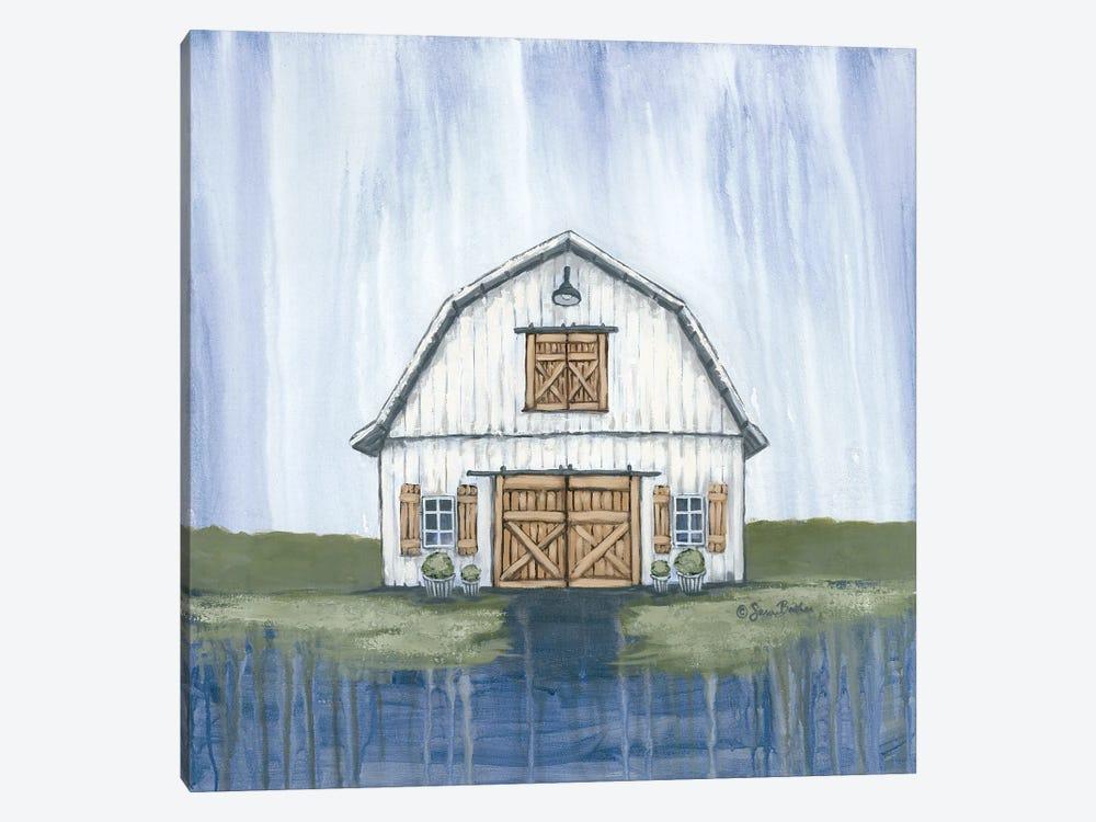 White Garden Barn by Sara Baker 1-piece Canvas Art Print