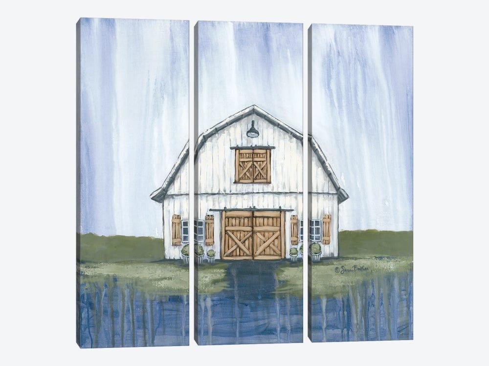 White Garden Barn by Sara Baker 3-piece Canvas Art Print