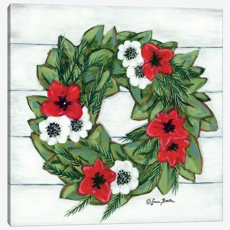 Magnolia Winter Wreath Canvas Print #SBK2} by Sara Baker Canvas Art Print