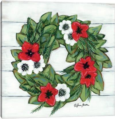 Magnolia Winter Wreath Canvas Art Print