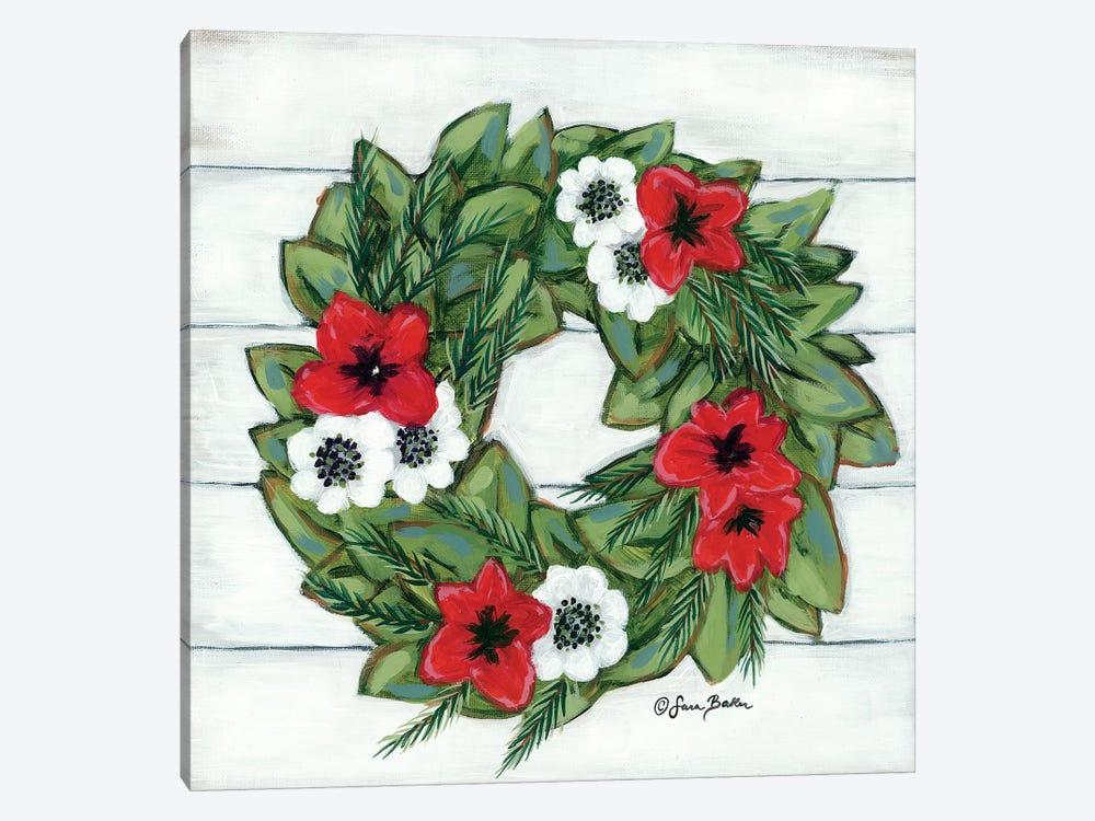 Magnolia Winter Wreath by Sara Baker 1-piece Canvas Art Print
