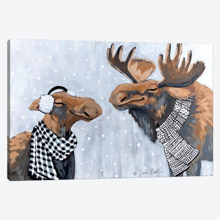 Winter Moose Kisses Canvas Print #SBK31} by Sara Baker Canvas Art
