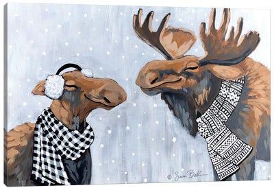 Winter Moose Kisses Canvas Art Print