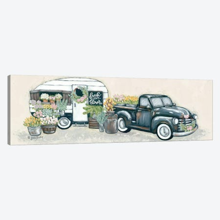 Vintage Flower Truck and Trailer Canvas Print #SBK7} by Sara Baker Canvas Art