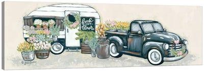 Vintage Flower Truck and Trailer Canvas Art Print