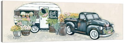Vintage Flower Truck and Trailer Canvas Art Print