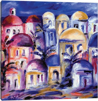 Greek Rooftops Canvas Art Print