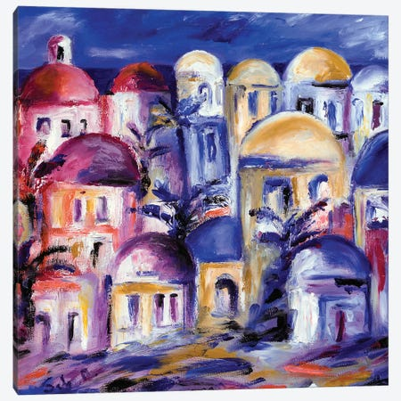 Greek Rooftops Canvas Print #SBM10} by Sebastien Montel Canvas Wall Art