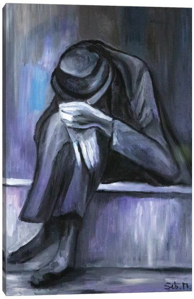 Grey Man Canvas Art Print