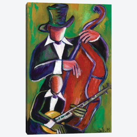 New Orleans Jazz Duo 3-Piece Canvas #SBM14} by Sebastien Montel Canvas Art Print