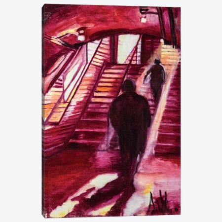 One Night In The Metro Station 3-Piece Canvas #SBM15} by Sebastien Montel Canvas Print