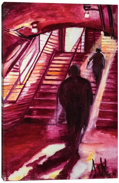 One Night In The Metro Station Canvas Art Print