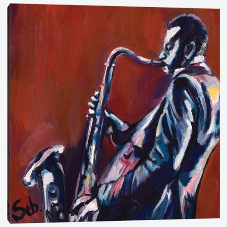 Saxophone Player Canvas Print #SBM19} by Sebastien Montel Canvas Artwork