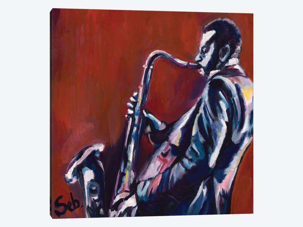 Saxophone Player by Sebastien Montel 1-piece Art Print